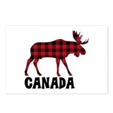 Plaid Moose Animal Silhouette Canada Postcards (Pa