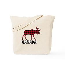 Plaid Moose Animal Silhouette Canada Tote Bag