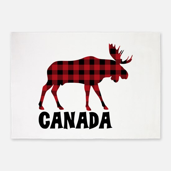 Plaid Moose Animal Silhouette Canada 5 X7 Area Rug