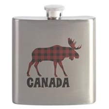 Plaid Moose Animal Silhouette Canada Flask