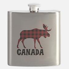 Plaid Moose Animal Silhouette Canada Flask