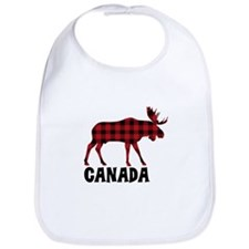 Plaid Moose Animal Silhouette Canada Bib
