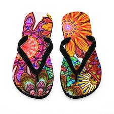 Funky Floral Pattern Flip Flops