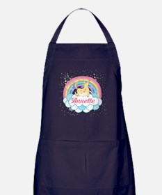 Unicorn and Rainbow Personalized Apron (dark)