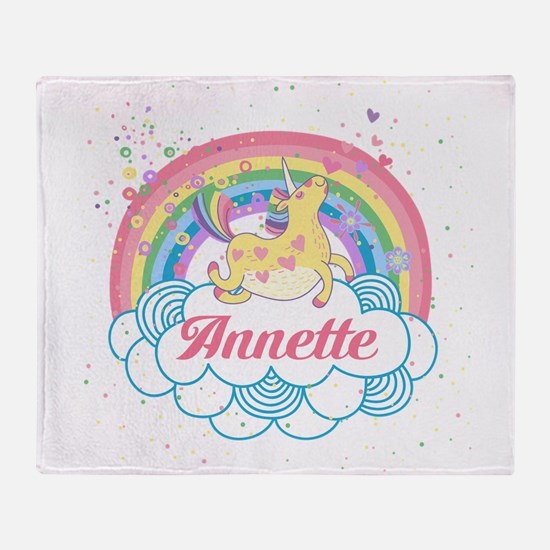 Unicorn and Rainbow Personalized Throw Blanket
