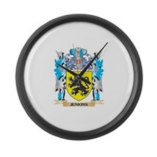 Jenkins Coat of Arms - Family Cre Large Wall Clock