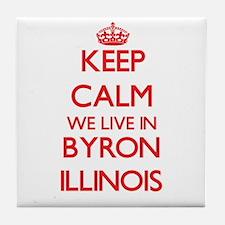 Keep calm we live in Byron Illinois Tile Coaster
