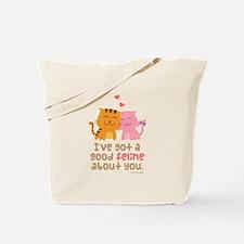 Cute Feline Cartoon Cats in Love Pun Humor Tote Ba