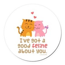 Cute Feline Cartoon Cats in Love Pun Humor Round C