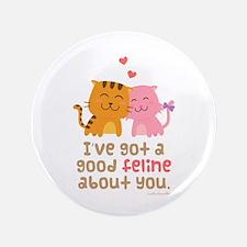 "Cute Feline Cartoon Cats in Love Pun Humor 3.5"" Bu"