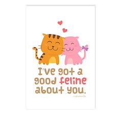 Cute Feline Cartoon Cats in Love Pun Humor Postcar