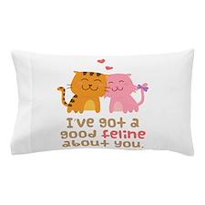 Cute Feline Cartoon Cats in Love Pun Humor Pillow