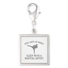 Sleep With A Martial Artist Silver Square Charm
