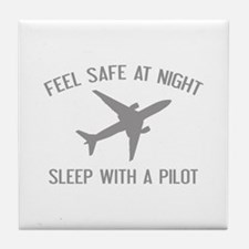 Sleep With A Pilot Tile Coaster