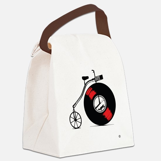 Record Bike Canvas Lunch Bag