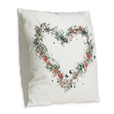 Elegant Floral Heart Burlap Throw Pillow