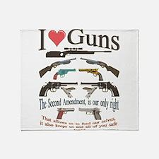 i love guns 2 main2.png Throw Blanket