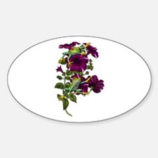 PURPLE PETUNIA FROGS Oval Decal