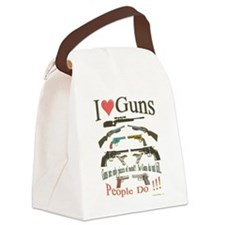 I love guns1.png Canvas Lunch Bag