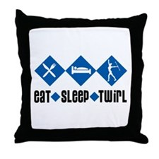 Eat Sleep Twirl (Blue) Throw Pillow