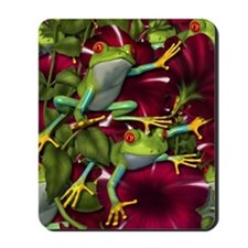 RED PETUNIA FROGS Mousepad