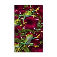 RED PETUNIA FROGS Rectangle Decal