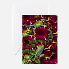 RED PETUNIA FROGS Greeting Cards (Pk of 10)