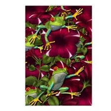 RED PETUNIA FROGS Postcards (Package of 8)