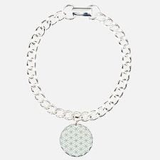 Flower of Life Ptn Grn/W Charm Bracelet, One Charm