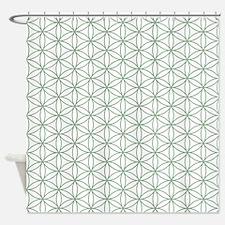 Flower of Life Ptn Grn/W Shower Curtain