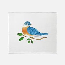 BLUEBIRD ON BRANCH Throw Blanket