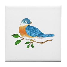 BLUEBIRD ON BRANCH Tile Coaster