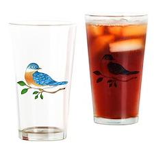 BLUEBIRD ON BRANCH Drinking Glass