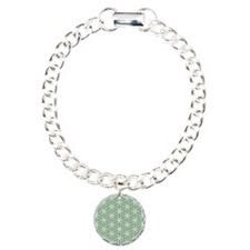 Flower of Life Big Ptn W/Grn Charm Bracelet, One C