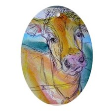 Golden cow, animal art Ornament (Oval)
