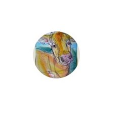 Golden cow, animal art Mini Button