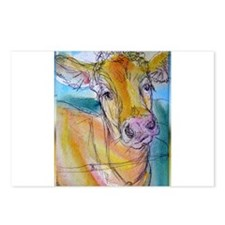Golden cow, animal art Postcards (Package of 8)