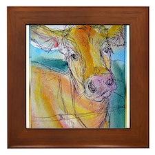 Golden cow, animal art Framed Tile