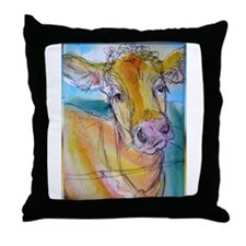 Golden cow, animal art Throw Pillow