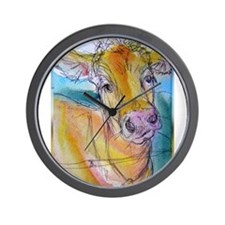 Golden cow, animal art Wall Clock