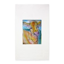 Golden cow, animal art Area Rug