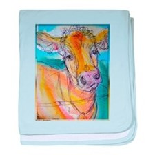 Golden cow, animal art baby blanket