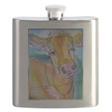 Golden cow, animal art Flask