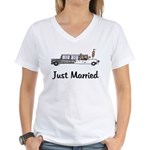 Just Married Stretch Women's V-Neck T-Shirt