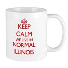 Keep calm we live in Normal Illinois Mugs
