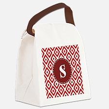 Red Ikat Diamond Pattern Monogram Canvas Lunch Bag