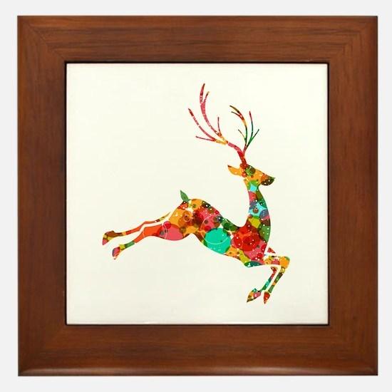 Flying Reindeer Framed Tile