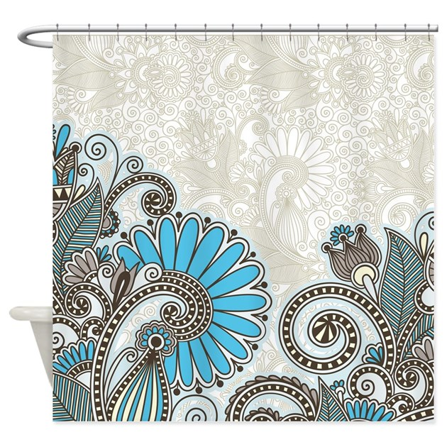 Paisley Shower Curtain In Turquoise And Brown By