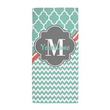 Gray and Aqua Chevron Custom Monogram Beach Towel