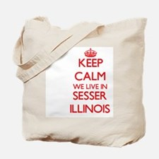 Keep calm we live in Sesser Illinois Tote Bag